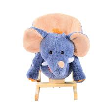 homcom childrens rocking seat with sound elephant blue beige