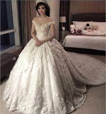wedding gown princess 2018 lace wedding dresses sheer neck cap