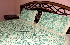 sea green bedding embroidered bedspread bed cover floral comforter