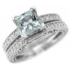 aquamarine wedding rings princess cut aaa blue aquamarine wedding ring set