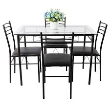 amazon com vecelo dining table with 4 chairs black kitchen dining