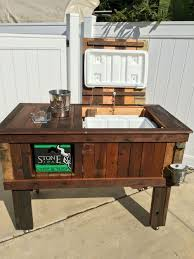 Patio Cooler Table The Best Diy Table Troff Cooler Custom Wood Patio Summer For Ideas