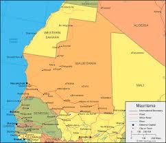 africa map senegal mauritania map and satellite image