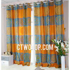 India Curtains Patterned Chic Designer Orange And Blue Buy Curtains India