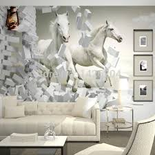 wholesale 3d white horse wall murals wallpaper 3d horse custom