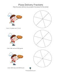 Adding Fractions Worksheets Pizza Delivery Fractions Http Www Kidscanhavefun Com Math