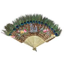 decorative fan held fan of peacock feathers japan circa 1880s at 1stdibs