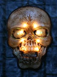 large lighted indoor outdoor skull halloween light decoration prop