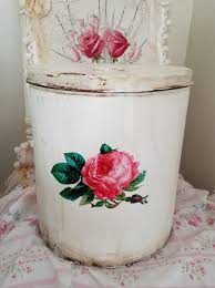 large tin box vintage decorative kitchen storage container