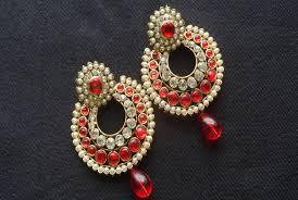 designer earrings designer earrings with stones and white tear droplets reeti