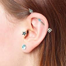 earring that connects to cartilage bodyj4you industrial barbell earrings tribal arrow cartilage