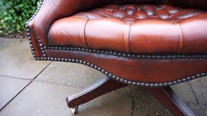 Red Leather Swivel Chair by Large Brown Leather Buttoned Swivel Chesterfield Directors Desk