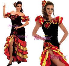 rumba salsa ladies spanish mexican flemenco fancy dress costume