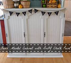 faux mantel cabinet with diy chalk paint the happy housie
