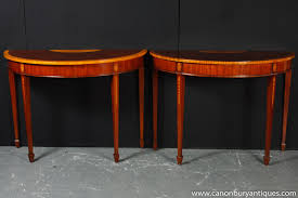 pair regency demi lune console tables satinwood inlay ebay