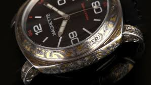gold inlay engraving the magrette taniwha engraved gold inlay wristwatch definitive