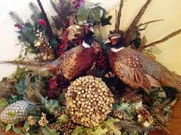 heritage game mounts christmas pheasants diamonds and rust decor