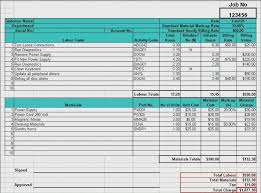 materials cost estimator sheet