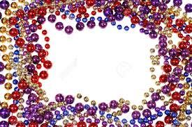 mardi gras frame border frame of mardi gras bead necklaces isolated on white stock