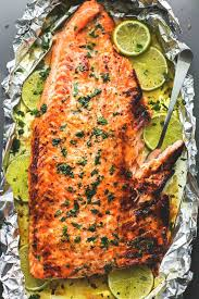 baked honey cilantro lime salmon in foil creme de la crumb