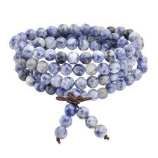 necklace stone beads images Tibetan mala bracelet or necklace with 108 natural sodalite jpg