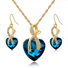 crystal necklace ebay images Gold plated jewelry sets for women crystal heart necklace jpg
