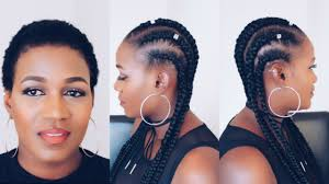 hair braided on the top but cut close on the side how to feed in braids on short natural 4c hair youtube