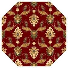 Red Patterned Rug Octagon Area Rugs Rugs The Home Depot