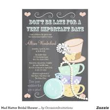 mad hatter bridal shower invitations elegant chalkboard bridal