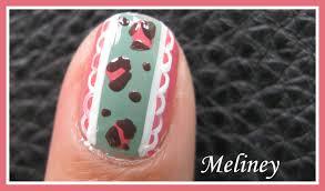 vintage leopard lace nail art design tutorial for short nails pink