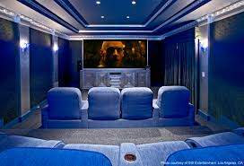 home theater screen fabric blue fabric sofa on the gray floor combined with large screen and