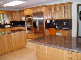 Furniture  Awesome Birch Kitchen Cabinets With Granite Table And - Birch kitchen cabinet