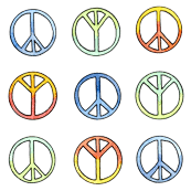 peace sign fabric wallpaper gift wrap spoonflower
