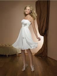 short summer strapless floating chiffon wedding dress tea length