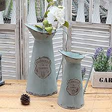 How To Decorate Flower Vase Amazon Com Apsoonsell Metal Flower Vase Decorative Tin Water