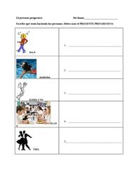 present progressive activity worksheet presente progresivo by lilafox