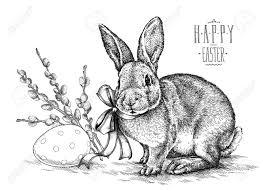 vintage rabbit easter rabbit bunny engrave illustration vintage graphic stock photo