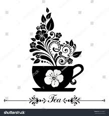 cute tea time card cup floral stock vector 222556081 shutterstock