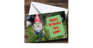 garden gnome personalised birthday card amazon co uk office products