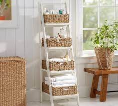 Bathroom Storage Ladder Ainsley Ladder Floor Storage With Baskets Pb Condo Small