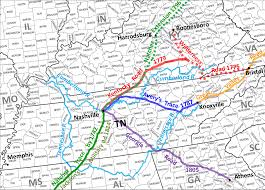 Illinois Road Map by Historic Roads Paths Trails West Virginia Tennessee Kentucky