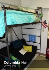 lofted bedroom university housing virtual tour columbia hall