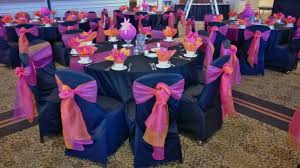 table sashes black table linens with hot pink organza runners black chair