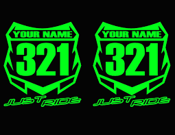 motocross number plate decal sticker custom name u0026 number mx