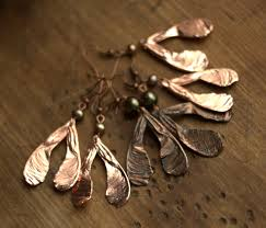 copper electroforming maple seed pearl earringselectroformed