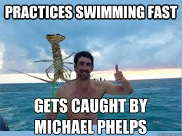 Swimming Memes Funny - practices swimming fast gets caught by michael phelps misc quickmeme