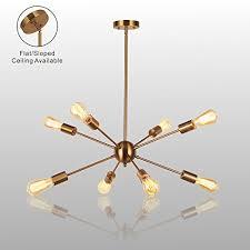 mid century flush mount lighting sputnik chandelier light vinluz 8 lights modern pendant lighting