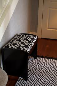 Cool Modern Rugs by Decorating Cool Dark Wooden Foyer Bench With Cozy Cushions On