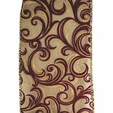 burgundy wired ribbon 4 in wired swirl ribbon burgundy antique gold ribbon christmas