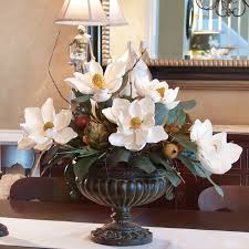 Fake Flowers For Home Decor Silk Flowers White Magnolias With Artichoke Centerpiece Ar273